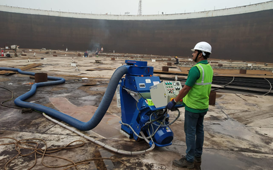 Steel Blasting of a Roof Tank in India